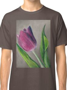 Spring blooming tulip flower original oil pastel painting Classic T-Shirt