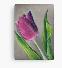 Spring blooming tulip flower original oil pastel painting Canvas Print