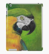 green and gold parrot macaw original oil pastel painting iPad Case/Skin
