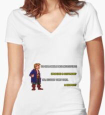 Guybrush Threepwood - Mustache Quote Women's Fitted V-Neck T-Shirt
