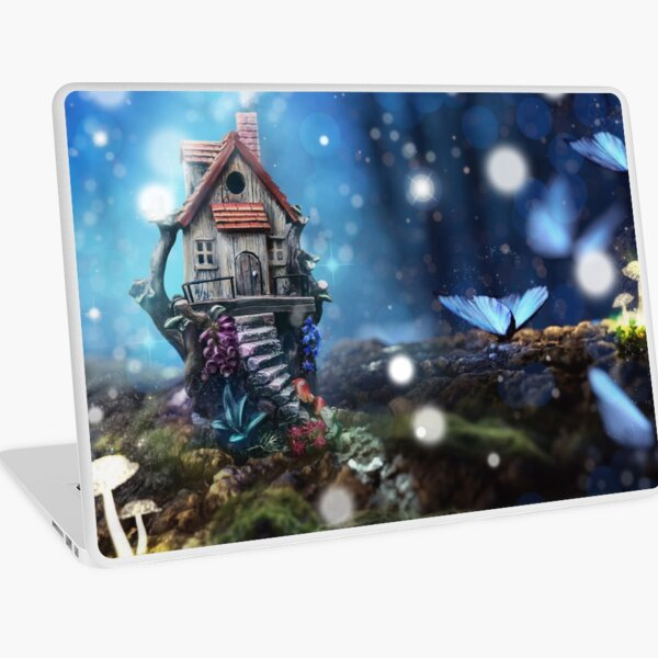 Enchanted, Magical Fairy Garden with Glowing Butterflies and Mushrooms - Stunning Fantasy Artwork Laptop Skin