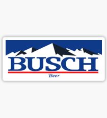 busch, buschlight, beer, drink, thin, mountain. Sticker