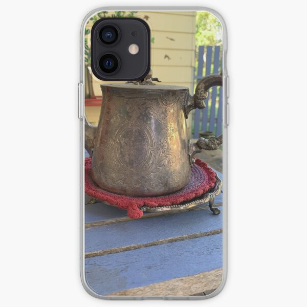 Metal Teapot on Patio Table iPhone Soft Case