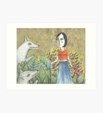 Lady Dances with Wolves Art Print