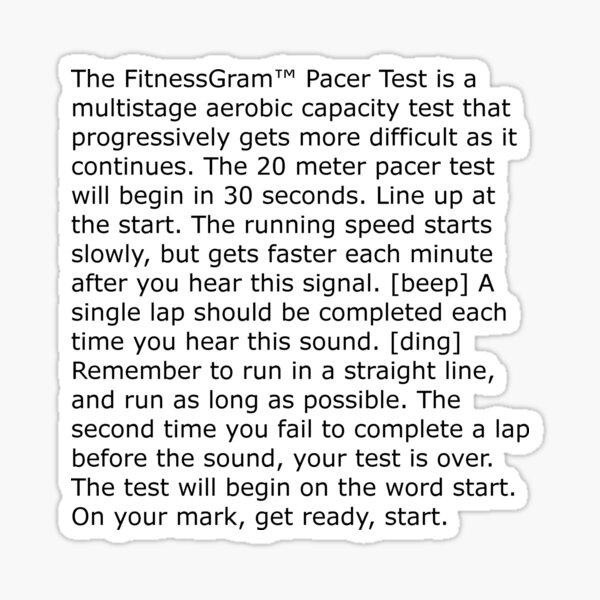 The FitnessGram™ Pacer Test Sticker