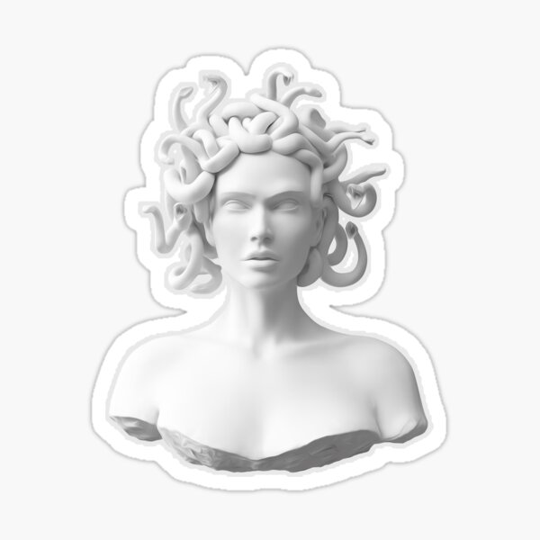 Busto de Medusa de mármol Pegatina