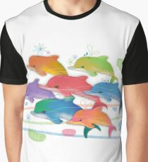 A Rainbow of Dolphins Graphic T-Shirt