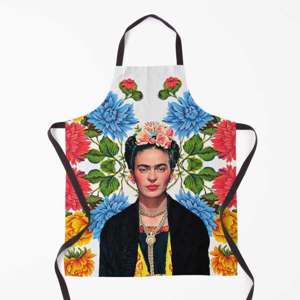 Frida Kahlo print, flowers, color on white Mexican tablecloth Apron