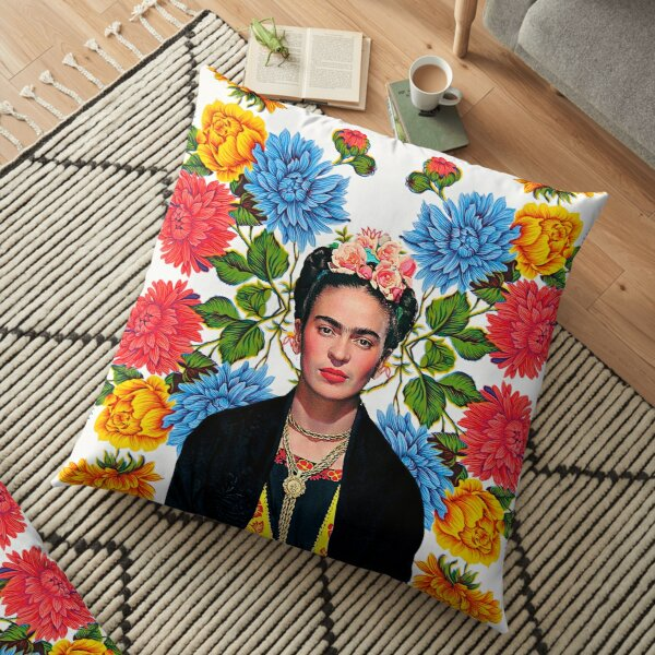 Frida Kahlo print, flowers, color on white Mexican tablecloth Floor Pillow