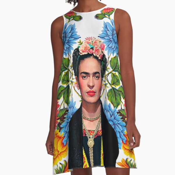 Frida Kahlo print, flowers, color on white Mexican tablecloth A-Line Dress