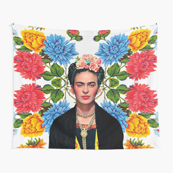 Frida Kahlo print, flowers, color on white Mexican tablecloth Tapestry