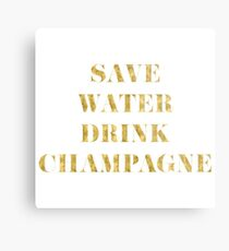 Save Water Drink Champagne - Faux Gold Foil Metal Print