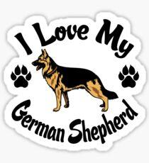 I Love My German Shepherd Tee Shirt Sticker