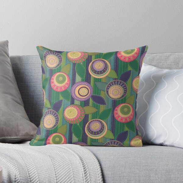 Faux Embroidered Patchwork Flower Garden Throw Pillow