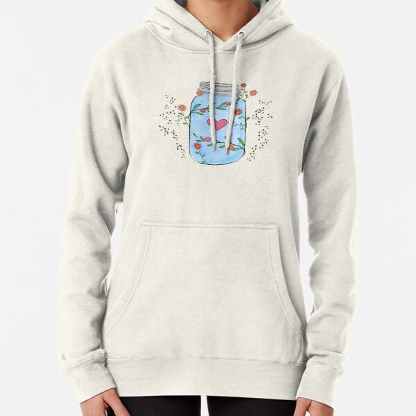 Mason jar with flowers, leaves and a heart. Pullover Hoodie