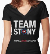 Camiseta entallada de cuello en V Equipo Stony - Love Not War