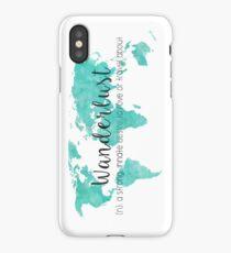 Wanderlust (n) Teal Watercolor World Map iPhone Case