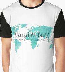 Wanderlust (n) Teal Watercolor World Map Graphic T-Shirt