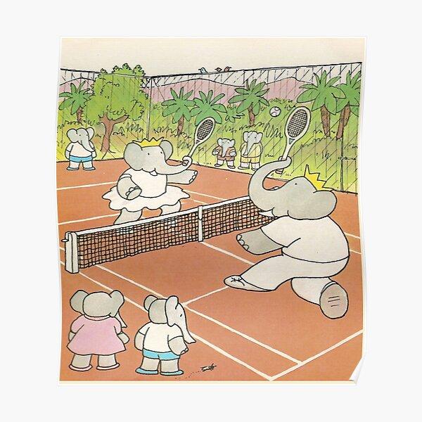 Babar jouant au tennis Poster