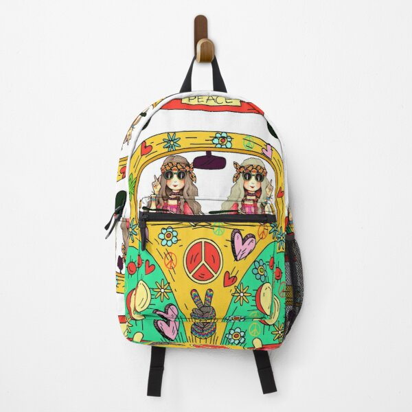 HIPPIE:  GROOVY HIPPIE CHICK GIRLS OUT FOR A DRIVE IN RETRO VAN Backpack