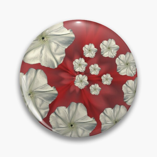 Spiral Moon Flower Red Swirl Pin