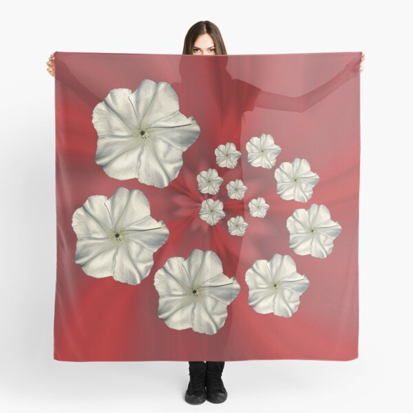 Spiral Moon Flower Red Swirl Scarf
