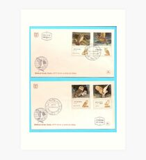 Biblical birds - owls First day cover of an Israeli stamps 1987 Art Print