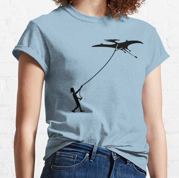 Fly a Kite Dinosaur Silhouette Pterodactyl Classic T-Shirt