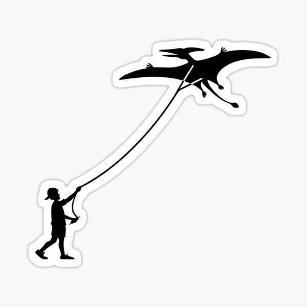 Fly a Kite Dinosaur Silhouette Pterodactyl Sticker