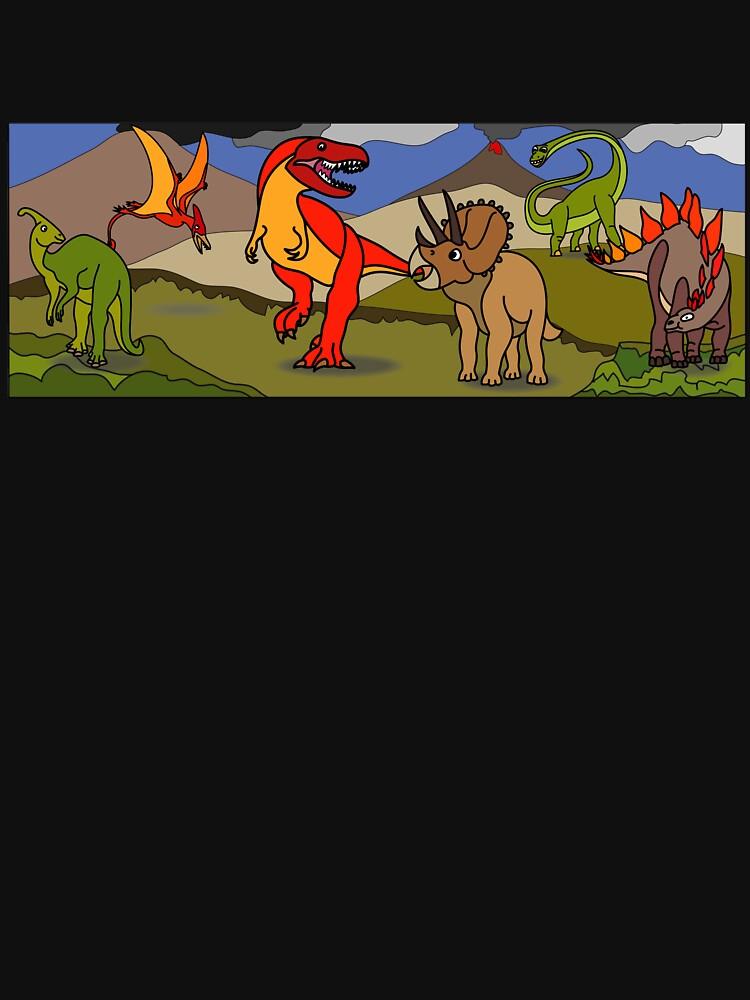 Dinosaur Landscape with Tyrannosaurus, Stegosaurus, Triceratops, Brachiosaurus, Pterodactyl & Parasaurolophus by BOLD-Australia
