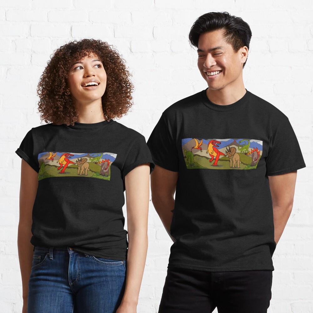 Dinosaur Landscape with Tyrannosaurus, Stegosaurus, Triceratops, Brachiosaurus, Pterodactyl & Parasaurolophus Classic T-Shirt