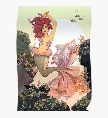 Cherry Mermaid Poster