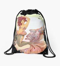 Cherry Mermaid Drawstring Bag