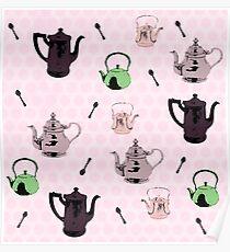Teapot pink pattern Poster