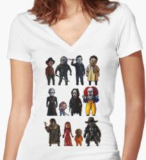 Icons of Horror Women's Fitted V-Neck T-Shirt