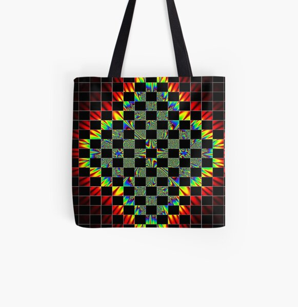 #Design, #pattern, #abstract, #art, illustration, shape, decoration, mosaic, square, futuristic, tile, modern All Over Print Tote Bag