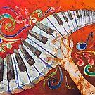 Crazy Fingers Piano Batik by Sue Duda by Sue Duda