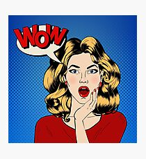 Surprised Woman with Bubble and Expression Wow in Comics Style. Vector illustration Photographic Print