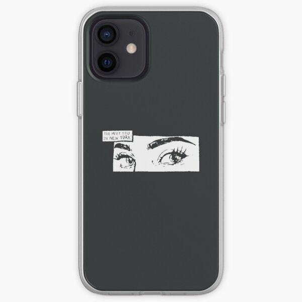 """""""Je te rencontrerai à New York"""" Graphique yeux noir et blanc Coque souple iPhone"""