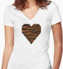 0605 Saddle Brown Tiger Women's Fitted V-Neck T-Shirt