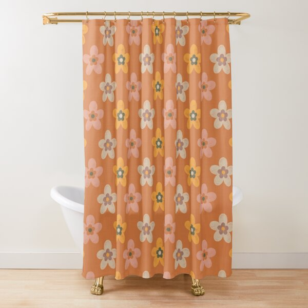 Flowers On Orange Shower Curtain