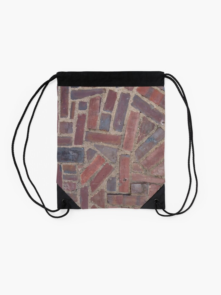 Alternate view of Surfaces, brick, wall, unstandard, pattern Drawstring Bag