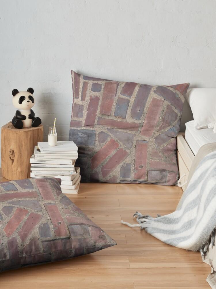 Alternate view of Surfaces, brick, wall, unstandard, pattern Floor Pillow
