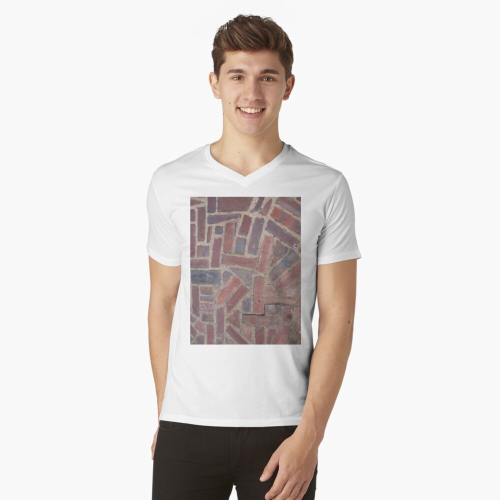 Surfaces, brick, wall, unstandard, pattern V-Neck T-Shirt