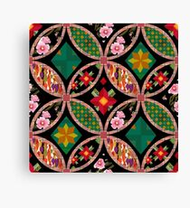 Patchwork seamless floral pattern texture background with decorative elements Canvas Print
