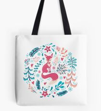 Fox with winter flowers and snowflakes Tote Bag