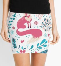 Fox with winter flowers and snowflakes Mini Skirt