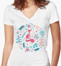 Fox with winter flowers and snowflakes Women's Fitted V-Neck T-Shirt