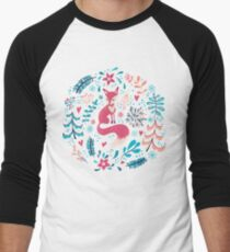 Fox with winter flowers and snowflakes Men's Baseball ¾ T-Shirt