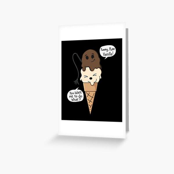 BDSM Vanilla Kinky Comic Ice Cream Dom Sub Greeting Card